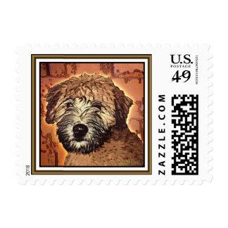"""Wheaten Terrier:  """"Wet Puppy"""" Stamp"""