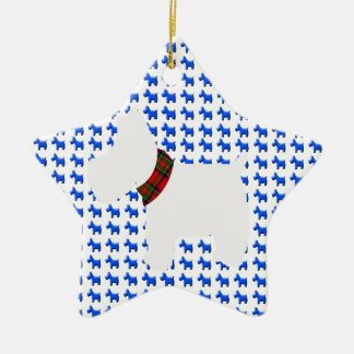 Wheaten Terrier with a Red Tartan Check Collar Ceramic Ornament
