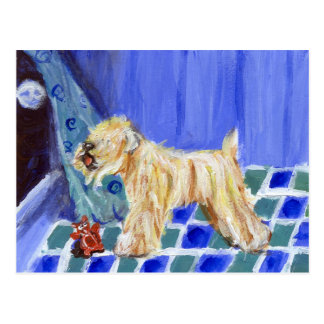 Wheaten terrier with toy postcard