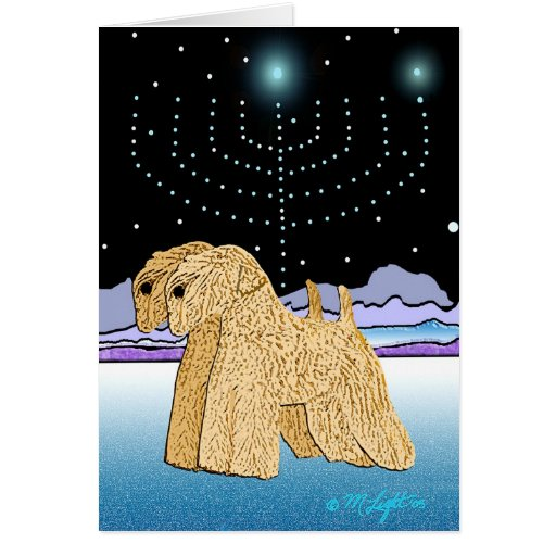 """""""Wheaten Terriers at Chanukah"""" Cards"""