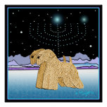 """""""Wheaten Terriers at Chanukah"""" Poster"""