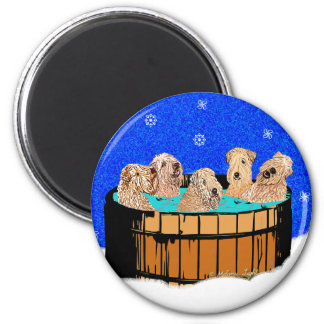 WHEATEN TERRIERS IN HOT TUB MAGNET