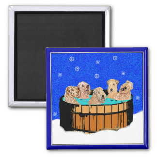 WHEATEN TERRIERS IN HOT TUB REFRIGERATOR MAGNETS