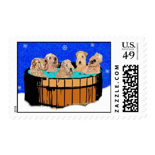 Wheaten Terriers in Hot Tub Postage