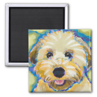 Wheatens Go Beyond Cute fun colorful dog art 2 Inch Square Magnet