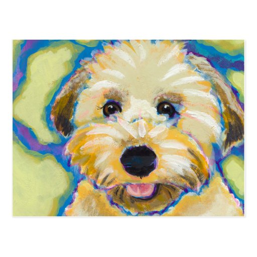 Wheatens Go Beyond Cute fun colorful dog art Postcard