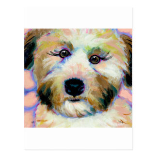 Wheatens Mean Business fun unique dog art painting Postcard