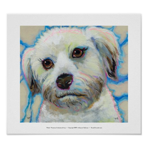 Wheatens Understand Irony fun colorful dog art Poster