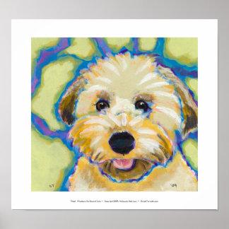 Wheatens va más allá de arte colorido del perro de poster