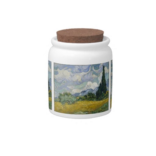 Wheatfield con los cipreses plato para caramelo