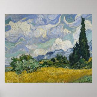 Wheatfield con los cipreses póster