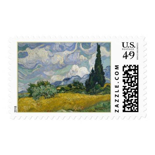 Wheatfield con los cipreses sellos