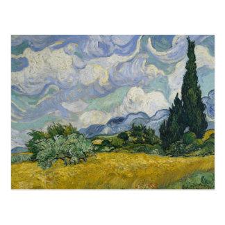 Wheatfield con los cipreses tarjetas postales