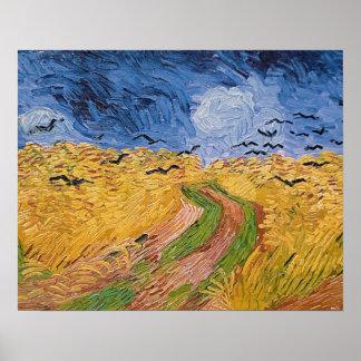 Wheatfield con los cuervos, 1890 (aceite en lona) impresiones