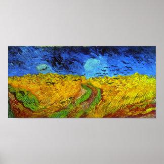 Wheatfield de Van Gogh con bella arte de los cuerv Poster