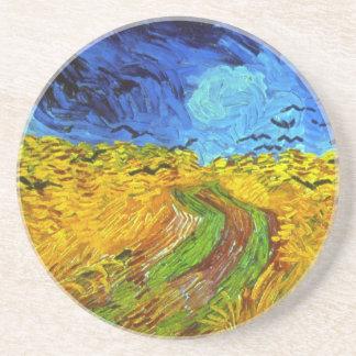 Wheatfield de Van Gogh con bella arte de los cuerv Posavasos Personalizados