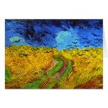 Wheatfield de Van Gogh con bella arte de los cuerv Tarjetas