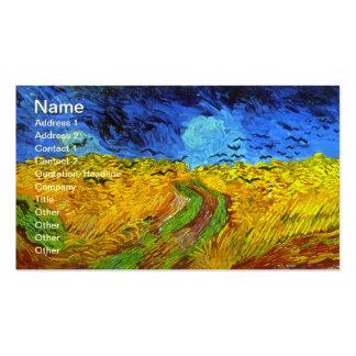 Wheatfield de Van Gogh con bella arte de los cuerv Tarjeta De Negocio