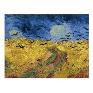 Wheatfield de Van Gogh con bella arte de los cuerv Postal