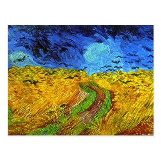 Wheatfield de Van Gogh con bella arte de los cuerv Postales