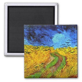 Wheatfield de Van Gogh con bella arte de los Imán Cuadrado