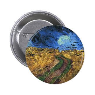 Wheatfield de Van Gogh con el botón de los cuervos Pin Redondo De 2 Pulgadas