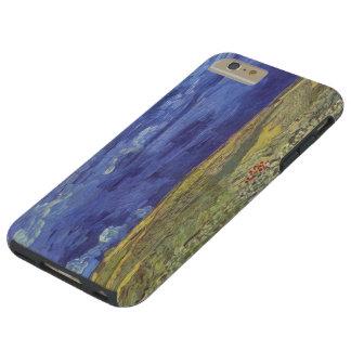 Wheatfield de Van Gogh con el cielo nublado Funda De iPhone 6 Plus Tough