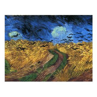 Wheatfield de Van Gogh con la postal de los cuervo