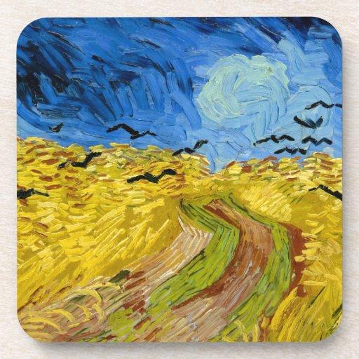 Wheatfield with crows - Vincent Van Gogh (1890) Posavasos De Bebida