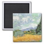 Wheatfield with Cypresses, 1889 Refrigerator Magnets