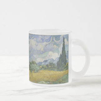 Wheatfield with Cypresses Frosted Glass Coffee Mug