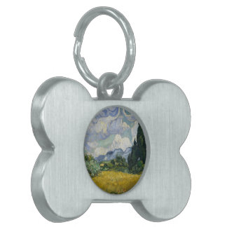 Wheatfield with Cypresses Pet Tags