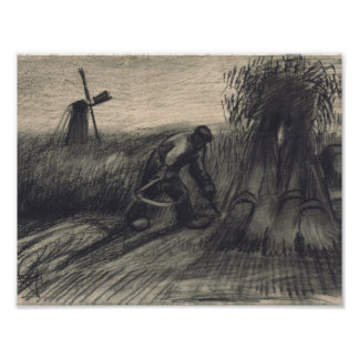 Wheatfield with Reaper and Peasant Woman Binding S Poster