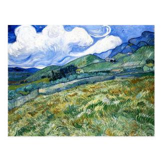 Wheatfield y montañas, Vincent van Gogh Postales