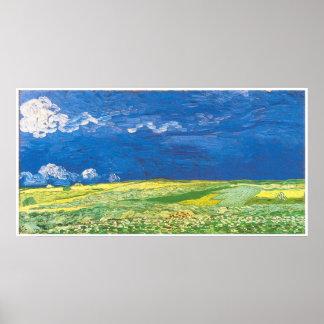Wheatfields debajo de un cielo nublado impresiones