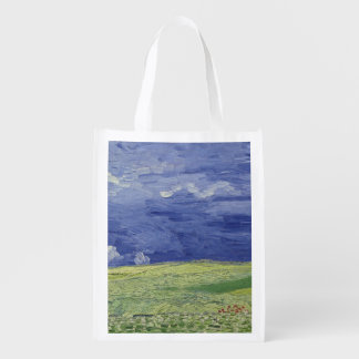 Wheatfields under Thunderclouds, 1890 Reusable Grocery Bags