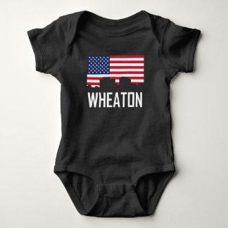Wheaton Maryland Skyline American Flag Baby Bodysuit