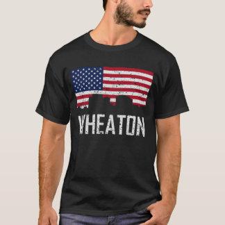 Wheaton Maryland Skyline American Flag Distressed T-Shirt