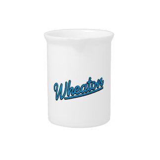 Wheaton neon light in cyan beverage pitcher