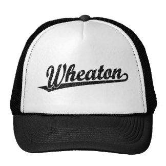 Wheaton script logo in black distressed trucker hat