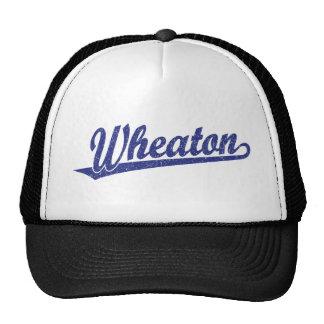 Wheaton script logo in blue distressed trucker hat