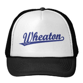 Wheaton script logo in blue trucker hat