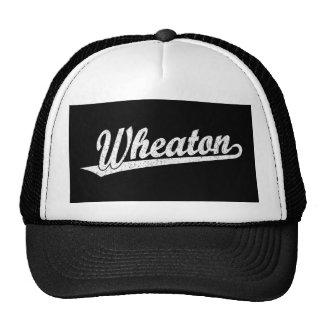 Wheaton script logo in white distressed trucker hat