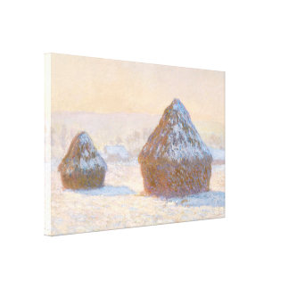 Wheatstacks, Snow Effect, Morning Canvas Print