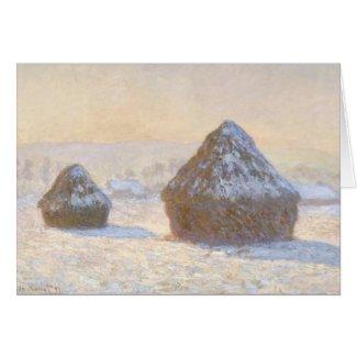 Wheatstacks, Snow effect, Morning Notecard