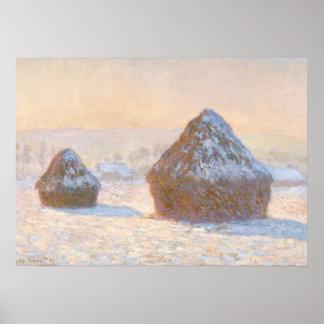 Wheatstacks, Snow Effect, Morning Poster