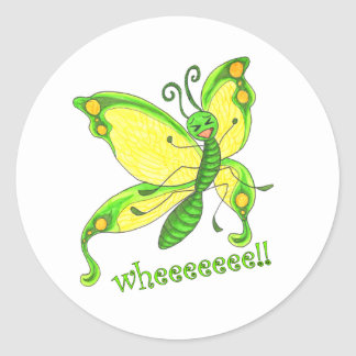Wheeeee! I'm a Butterfly!! Classic Round Sticker