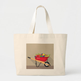 Wheel Barrow filled with Vegetables Large Tote Bag