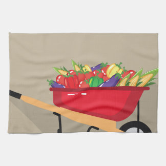 Wheel Barrow filled with Vegetables Towel