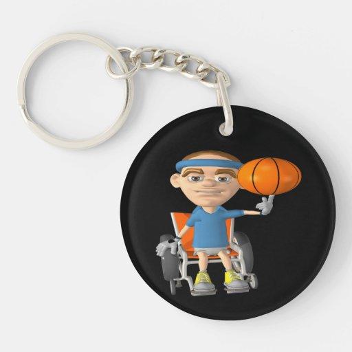 Wheel Chair Basketball 2 Key Chain